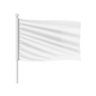 Макет белого волнистого флага