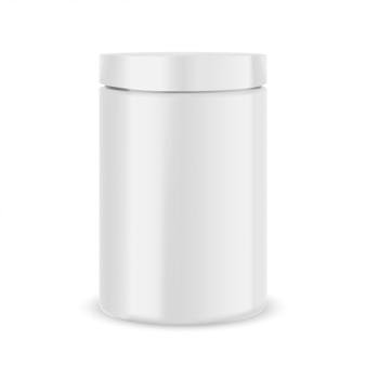 プラスチック製の白い瓶モックアップ