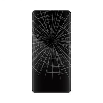 ひびの入った画面を持つ携帯電話