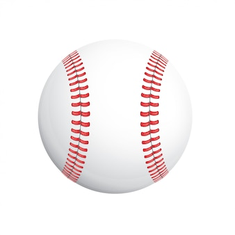 Белый бейсбольный мяч с красным стичем