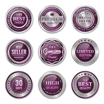 Коллекция фиолетовых и серебряных металлических значков и ярлыков