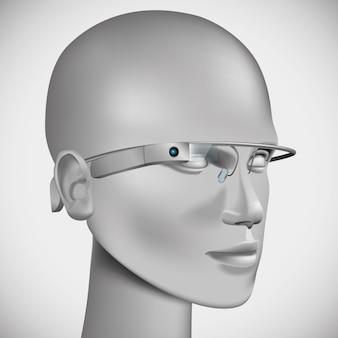 仮想眼鏡をかけている頭