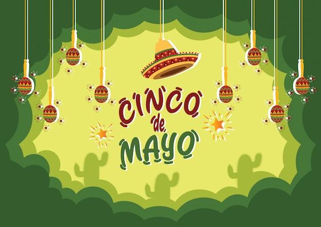 Фон празднования синко де майо с кактусами и традиционными музыкальными инструментами