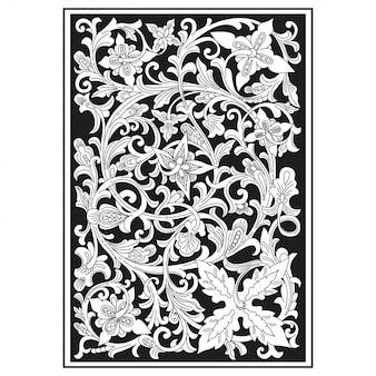 透かし彫りパターン。インドネシアのモチーフ。花のイラスト。