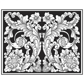 Резной ажурный узор цветок иллюстрации. индонезийский мотив