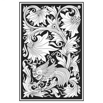 彫刻透かし模様の花のイラスト。インドネシアのモチーフ。