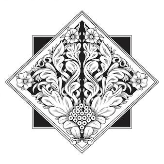 彫刻透かし模様のイラスト。インドネシアのモチーフ。フレームの花。