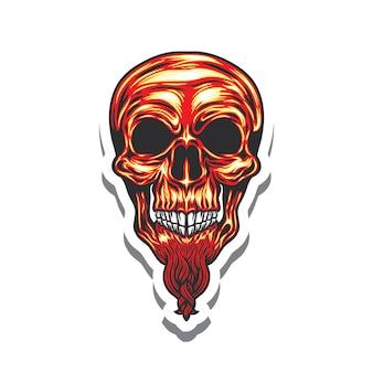 Стикер иллюстрации логотипа головы черепа