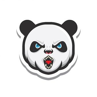 パンダの頭のロゴイラストステッカー