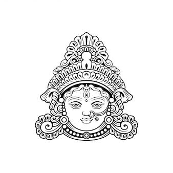 Дурга бог индии векторная иллюстрация
