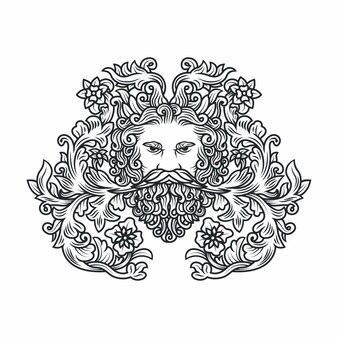 Иллюстрация головы человека с усами и листьев растений, окружающих в голове