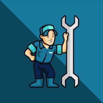 配管工、メカニック、修理工、漫画スタイルのイラスト。修理工、メカニック、または配管工が大きなレンチに傾く