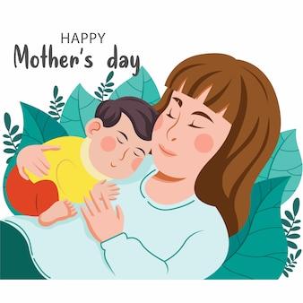 女性がベッドで夜に赤ちゃんと抱き合って寝ています。母乳育児、赤ちゃん、母性、ケア、リラクゼーションと安全な睡眠の概念図。フラットイラスト