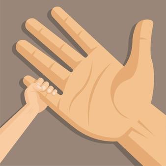 父と息子のプレミアムと手をつないで