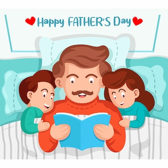父はベッドで子供たちに本を読んでいます。幸せな父の日のイラスト