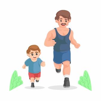 漫画の父と息子が一緒に実行しています。朝のジョギング。スポーティな家族。父権の概念。身体活動と健康的なライフスタイル。幸せな父の日のコンセプト