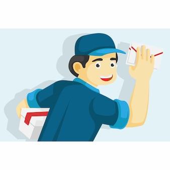 小包と手紙の陽気な郵便屋さん。フラットデザインのベクトルイラスト