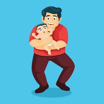 Отец любовь. отец несет ее сына. с днем отца векторная иллюстрация
