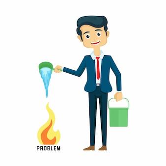 Бизнесмен поливает проблемы векторные иллюстрации