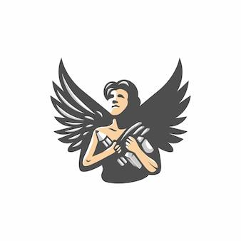 鉛筆と本のロゴのベクトルを持つ天使