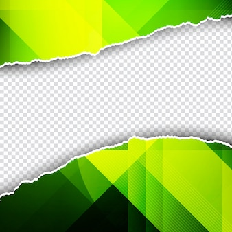 Зеленый многоугольный фон с разорванной бумагой