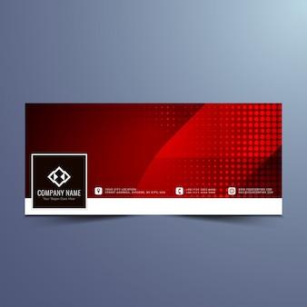 近代的な赤のカラーフェイスブックタイムラインのデザイン