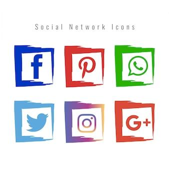 抽象的なソーシャルネットワークアイコンが設定