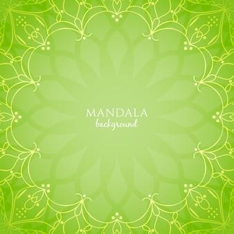抽象的な明るい緑色の曼荼羅の背景