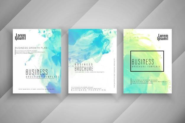抽象的なカラフルな水彩ビジネスパンフレットセット