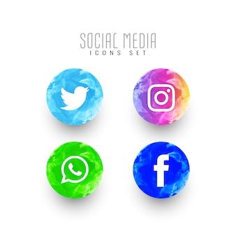 抽象的なソーシャルメディアの水彩アイコンセット