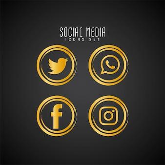 抽象的なソーシャルメディアのアイコンを設定