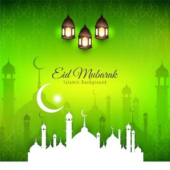 イードムバラク、緑色の背景で宗教的なイスラムのシルエット