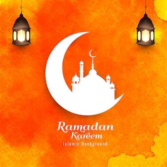 ラマダンカリーム、オレンジ色の背景を持つ宗教的なイスラムのシルエット