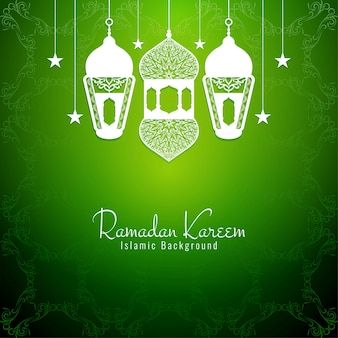 ラマダンカリーム装飾的な宗教的な緑の背景