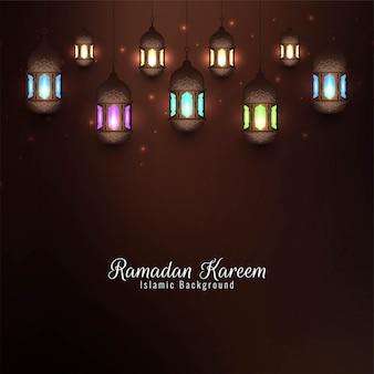 Рамадан карим ислам с красочными фонарями