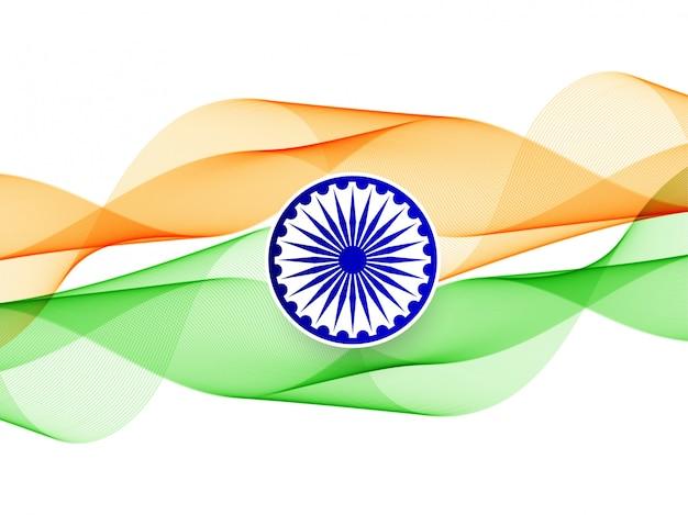 抽象的な波状インド国旗バナー
