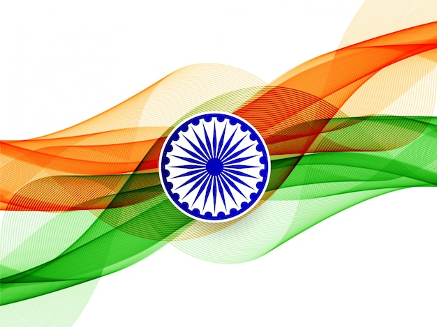 Стильный волнистый индийский флаг тема фон