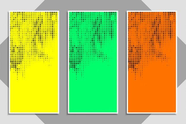 抽象的な現代的なカラフルなハーフトーンバナーセット