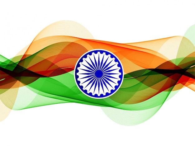 Современный элегантный волнистый фон индийского флага