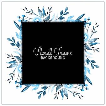 Абстрактный синий акварельный фон цветочная рамка