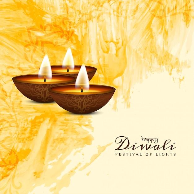 インドのお祭りハッピーディワリ黄色水彩画