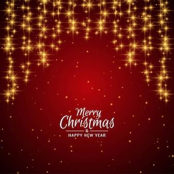 メリークリスマスの星と赤の背景の挨拶