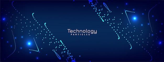 モダンな輝く粒子青いバナーデザイン