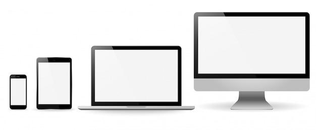 現実的なモニターのノートパソコンのタブレットと携帯電話を設定します。
