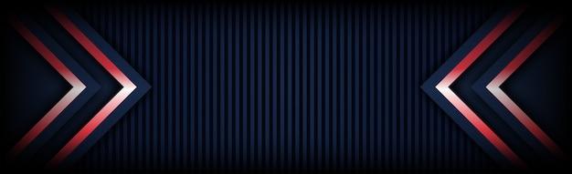 暗い青色の背景を持つ近代的な技術赤い光矢印の概要