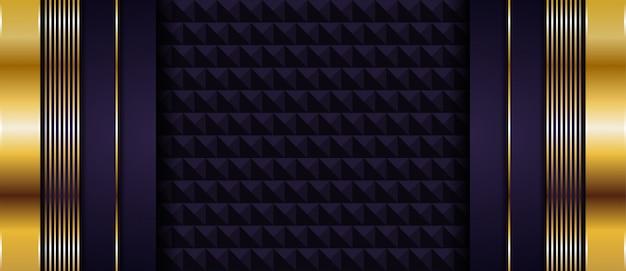 豪華な濃い紫色の背景に金色の線