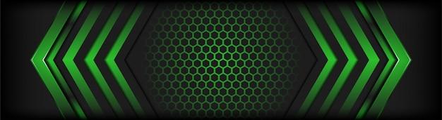 緑の線で抽象的な暗い灰色の背景が背景を強調表示します