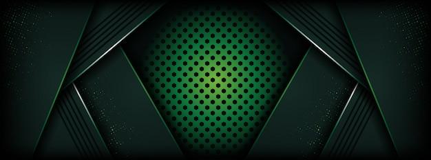 濃い緑色の抽象的な形で豪華な背景