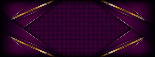 金色の重複レイヤーとモダンな抽象的な暗い紫色の背景
