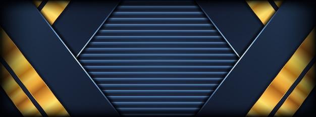 金色の重複レイヤーと抽象的な暗い青色の背景